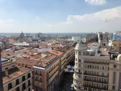 A rooftop view of Madrid after eating lunch