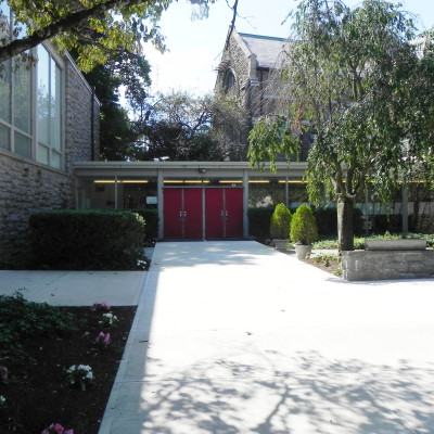 Located at the south end of the church's main parking lot, adjacent to the Parish Hall, use this entrance for easy access to Bookstore and Parish Hall. The Parish Office and Christ Church Nursery School, which houses our Childcare Church School class offerings on Sundays, are also accessible through this entrance.