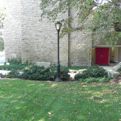 Located adjacent to the main parking lot, this lower level entrance is the quickest route to the Parish Office.