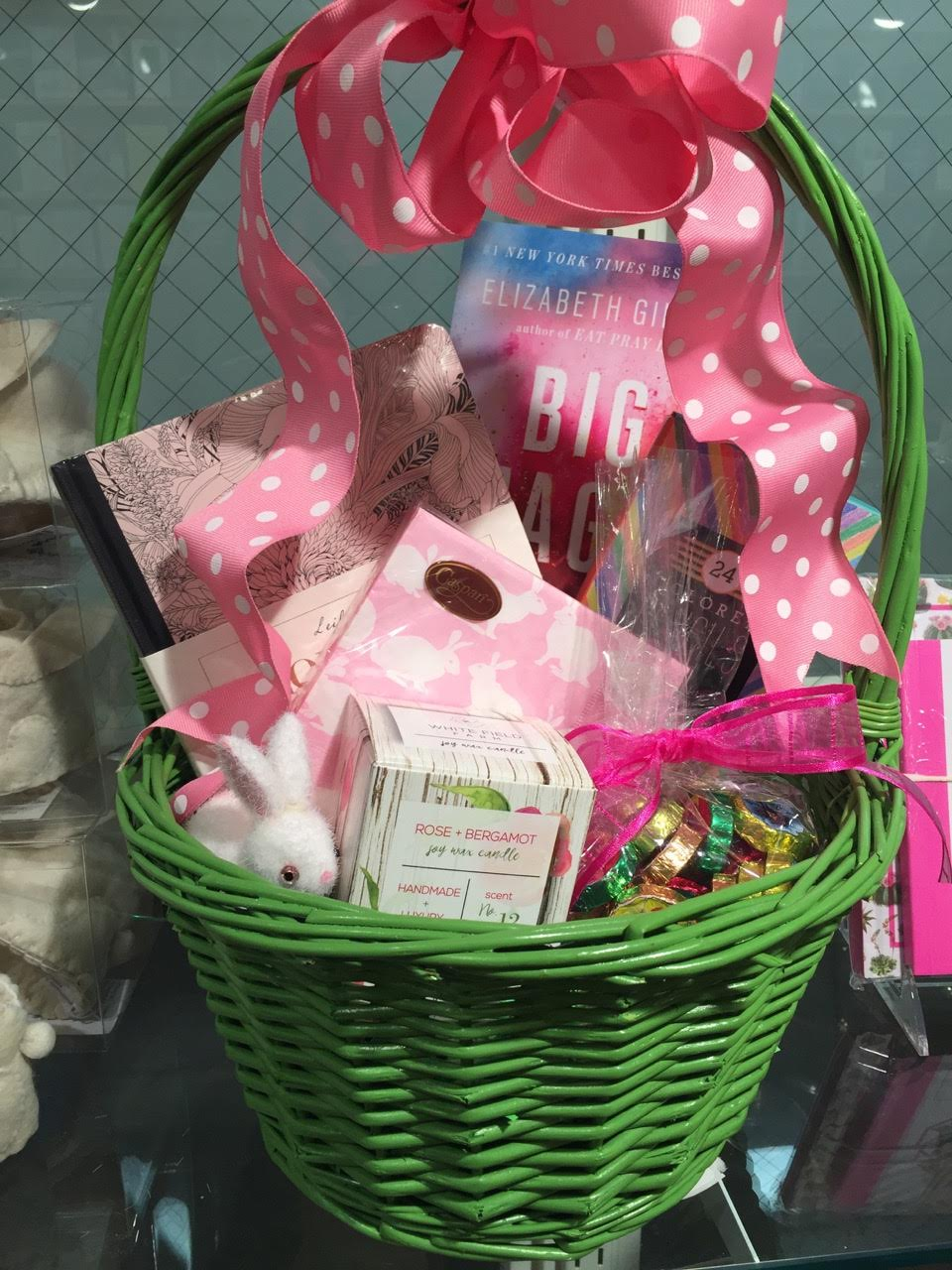 Christ church greenwich easter at the christ church bookstore easter baskets are not just for children make a basket for someone you love like this one with a scented candle pretty napkins journal bag of chocolate negle Gallery